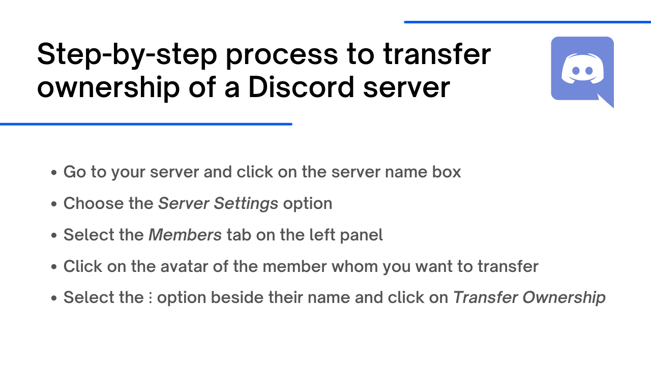 how to transfer ownership of a Discord server