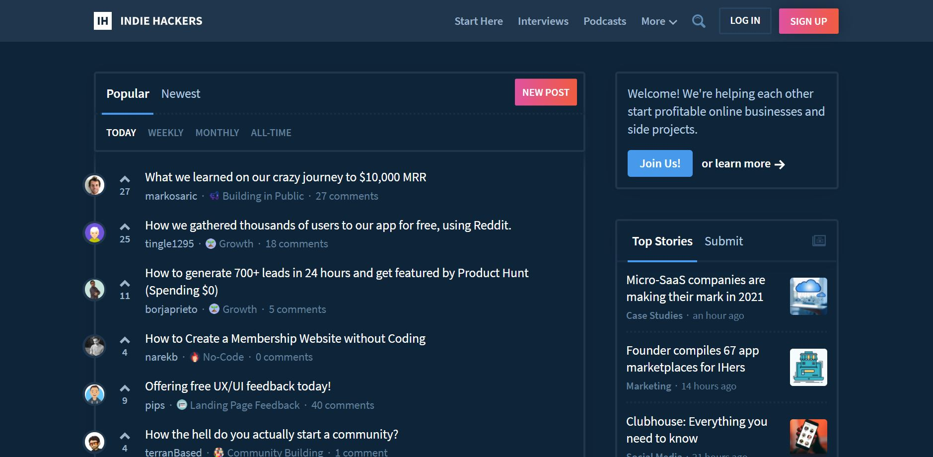 side project tools - indiehackers