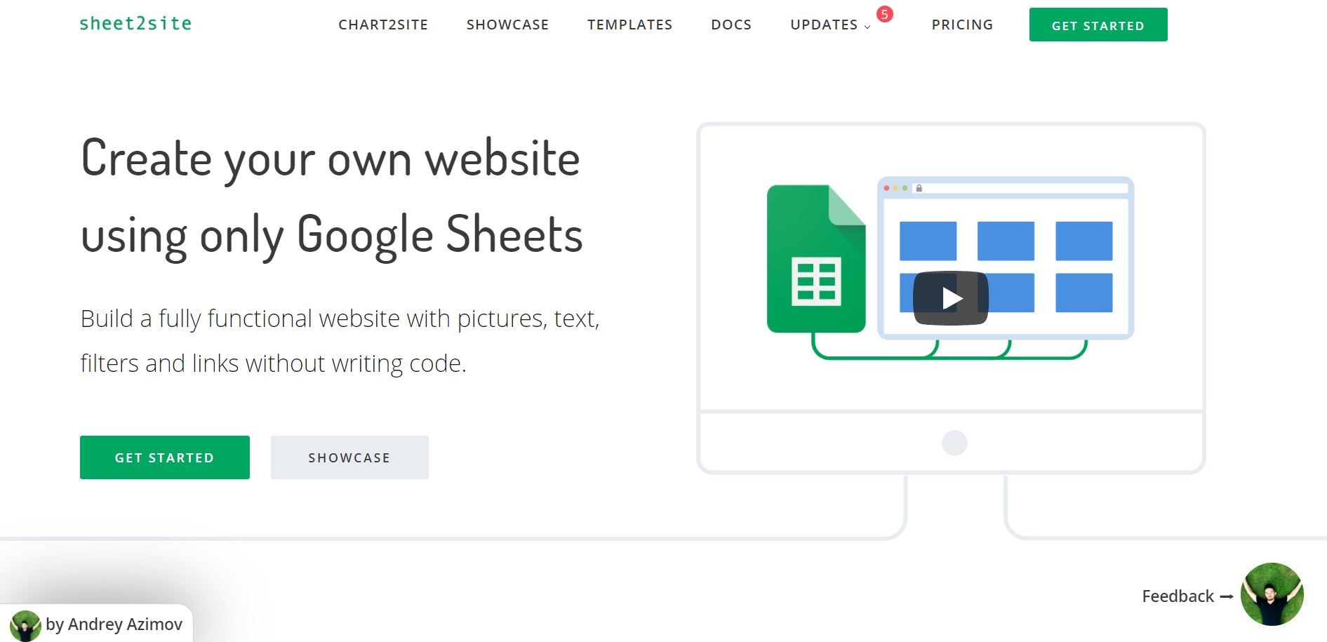side project tools - sheet2site